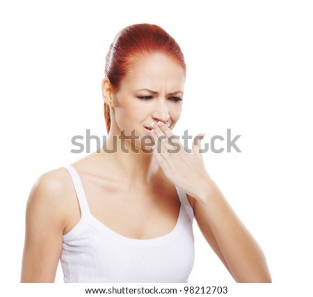 Young sick woman isolated on white - stock photo