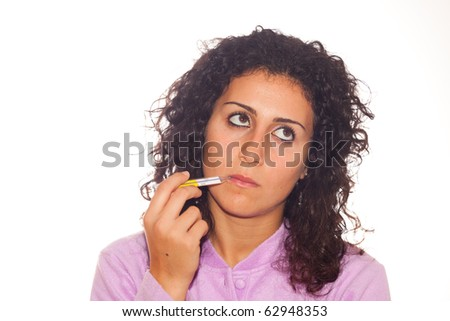Young Sick Woman Look to Thermometer - stock photo