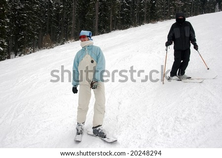 Young skiers on the track - stock photo