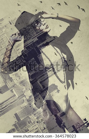 Young slim asian woman with city concept portrait. Double exposure technique. - stock photo