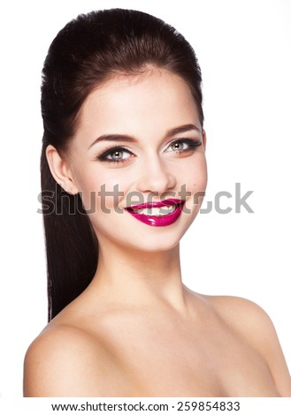 Young slim attractive smiling woman with stylish hair,bright make up,beautiful smile, isolated white background  - stock photo