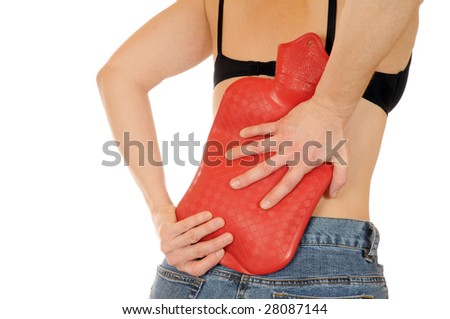 Young slim female has a backache - stock photo