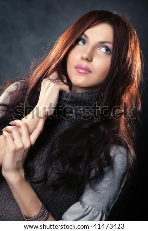 Young slim woman fashion portrait. - stock photo