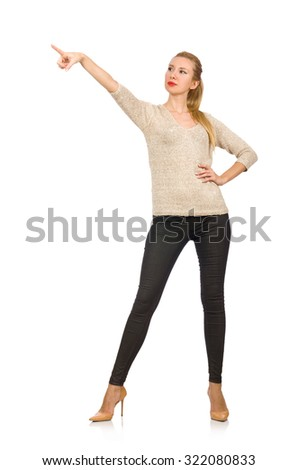 Young slim woman isolated on white - stock photo