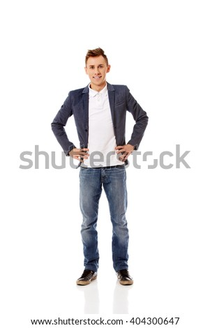 Young smile casual businessman standing  - stock photo