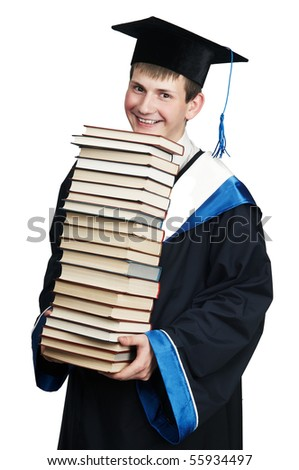 Young smiley graduate student in gown with books isolated - stock photo