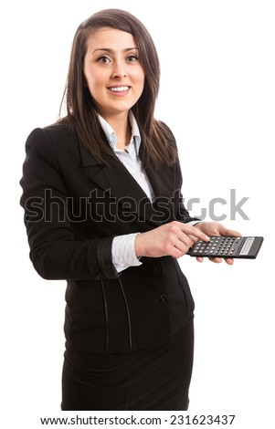 Young smiling accountant with calculator - stock photo