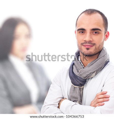 Young smiling business woman and business man isolated - stock photo