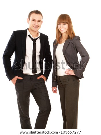 Young smiling business woman and business man isolated on white background - stock photo