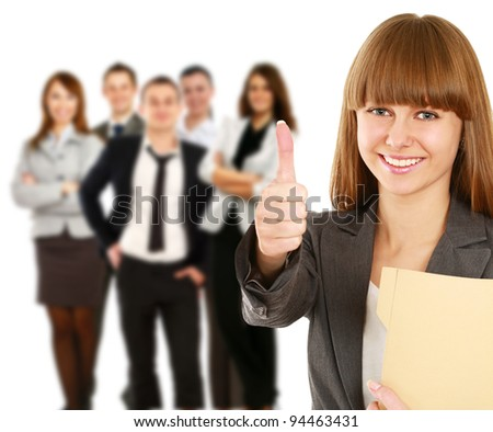 Young smiling business woman and business man showing ok,isolated on white background - stock photo