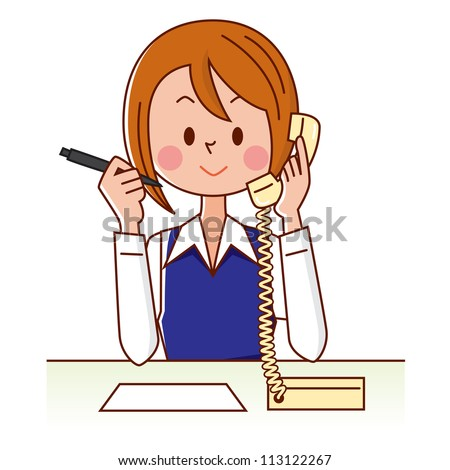 Young smiling business woman calling by phone. Over white background - stock photo