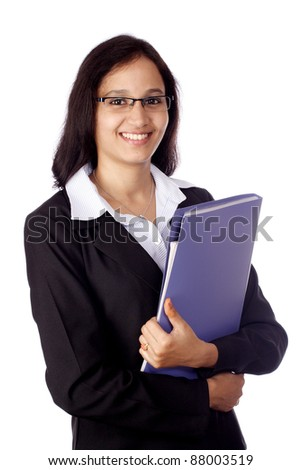 Young smiling business woman with document folder - stock photo