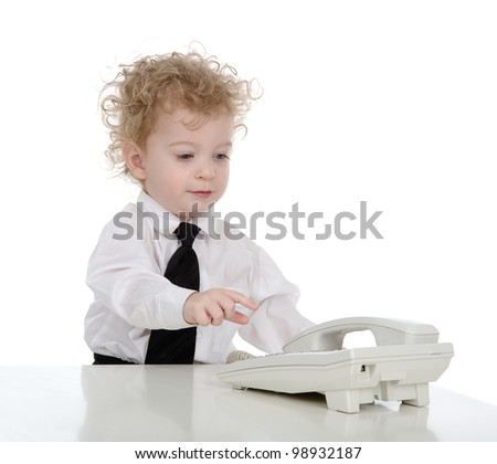 Young smiling businessman calling on phone.  isolated on white background - stock photo