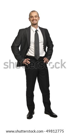 young smiling businessman isolated on white - stock photo