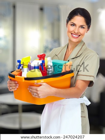 Young smiling cleaner woman in modern house. - stock photo