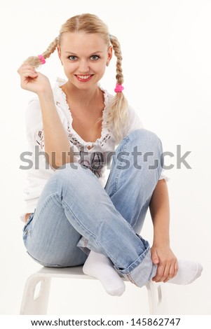 young smiling girl - stock photo