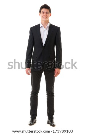 Young smiling handsome business man in suit isolated on white background Full Length - stock photo