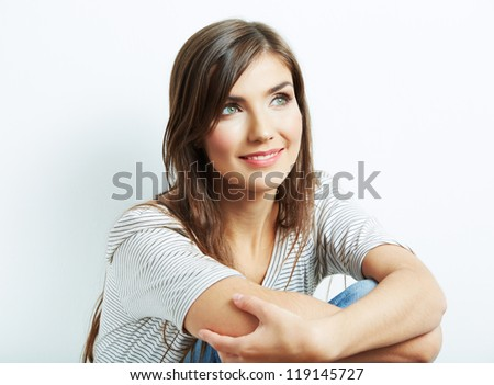 Young smiling happy woman portrait on white. isolated - stock photo