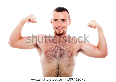 Young smiling muscular sports man showing biceps, isolated on white background. - stock photo