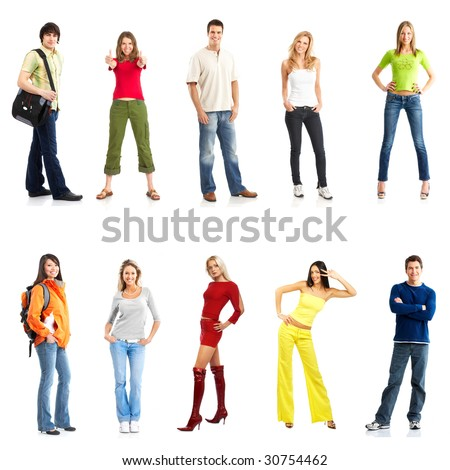young smiling  people. Isolated over white background - stock photo
