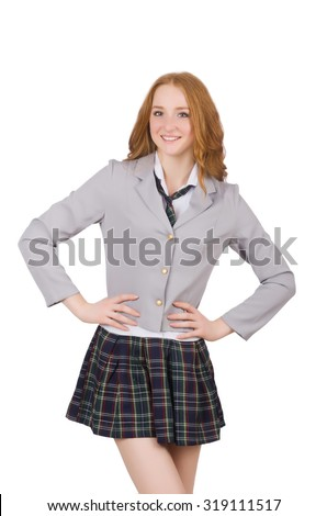 Young smiling student female isolated on white - stock photo