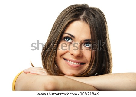 Young smiling woman face  isolated over white background. studio portrait, Close up - stock photo