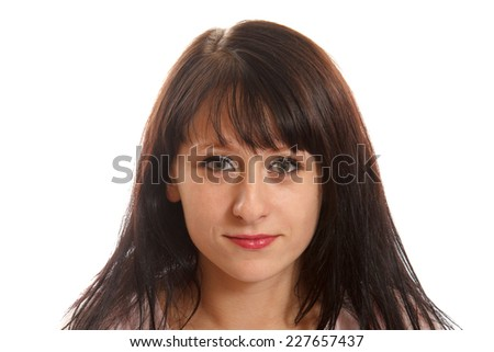 Young smiling woman on a white background - stock photo