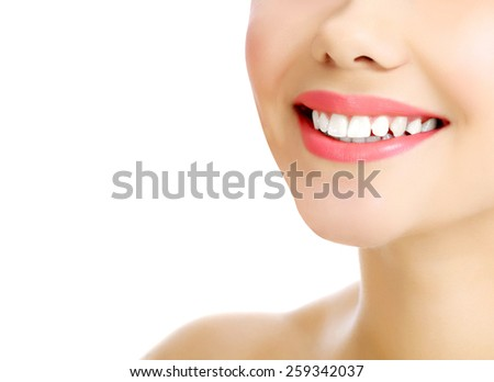 Young smiling woman, white background, copyspace