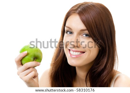 Young smiling woman with apple, isolated on white - stock photo