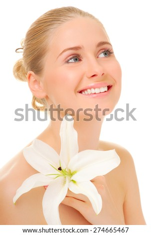Young smiling woman with flower isolated - stock photo