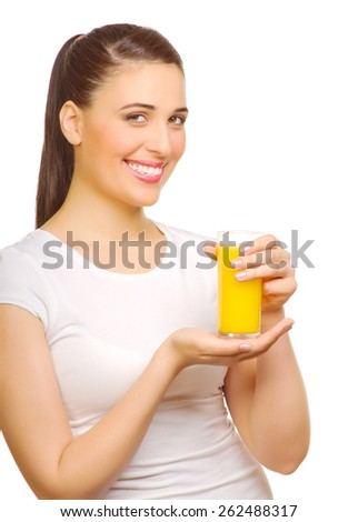 Young smiling woman with juice isolated - stock photo