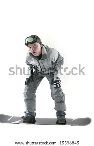 Young snowboarder on board, isolated - stock photo