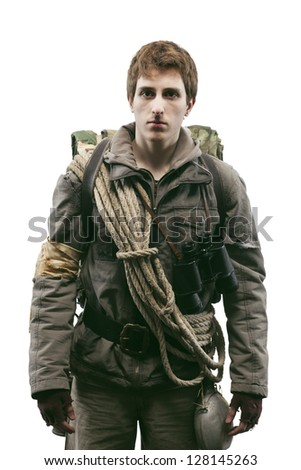 Young soldier on a white background - stock photo
