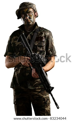 young soldier with jungle camouflage on a white background - stock photo