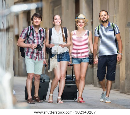 Young spanish couples  during city walking - stock photo