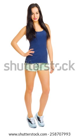 Young sporty girl isolated on white - stock photo