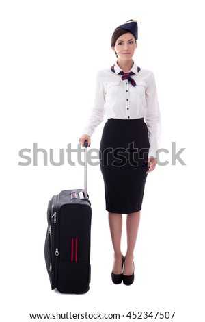 young stewardess with suitcase isolated on white background - stock photo