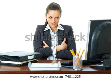 young stressed and angry businesswoman, look at her computer screen, upset face expression, isolated on white - stock photo