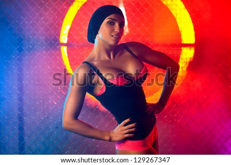 Young strong and sexy woman portrait. - stock photo