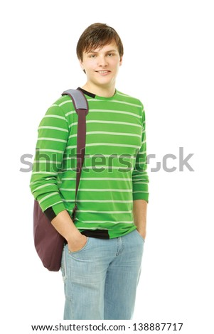 young student isolated on a white background - stock photo