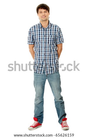 Young student man,isolated on a white background - stock photo
