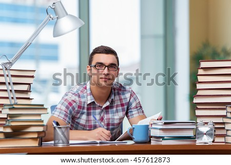 Young student preparing for college exams - stock photo