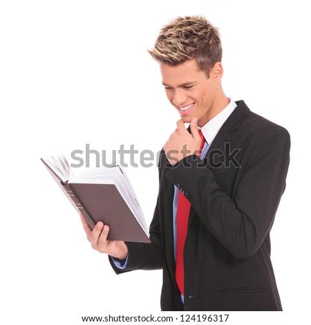 young student  reading a law book on white  background - stock photo