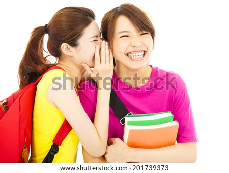 young student talking to his friend with happy expression - stock photo