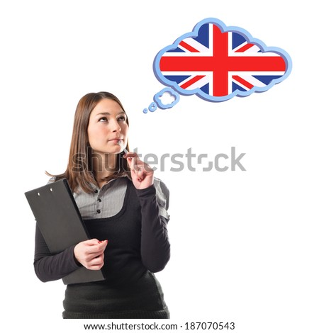 Young student thinking over isolated white background  - stock photo