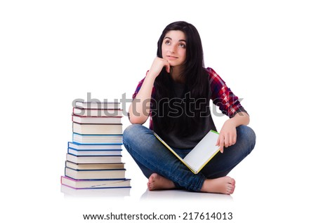 Young student with books isolated on white - stock photo