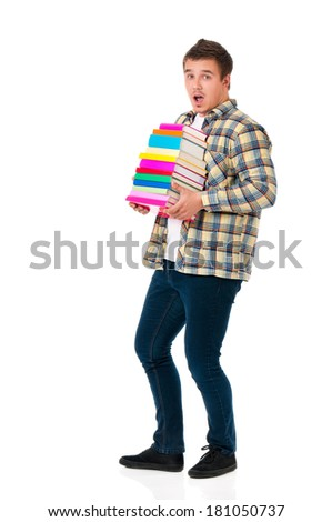 Young student with books, isolated on white background  - stock photo