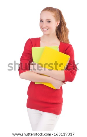 Young student with books on white - stock photo