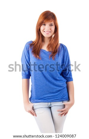 Young student woman posing over white background - stock photo