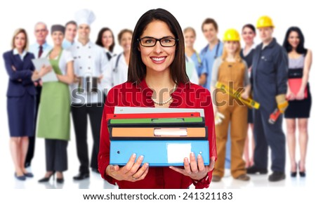 Young Student woman with books. Study and education background - stock photo